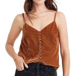 NWT Madewell Brown Velour Buttoned Top Size 4